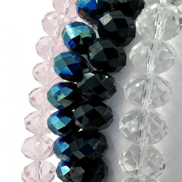 16mm Faceted Glass Rondelle Beads